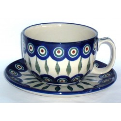 L. Cup & Saucer in 'peacock...