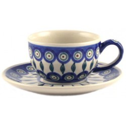 Cup & Saucer in 'peacock...